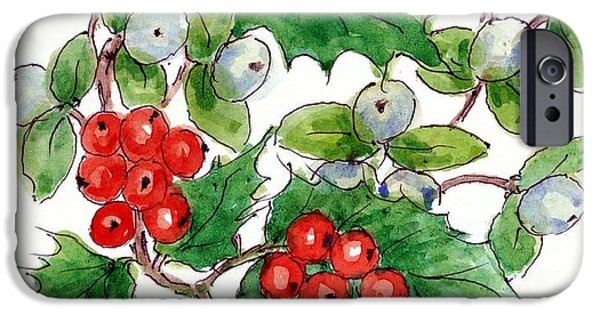 Wreath Paintings iPhone Cases - Mistletoe and Holly Wreath iPhone Case by Nell Hill