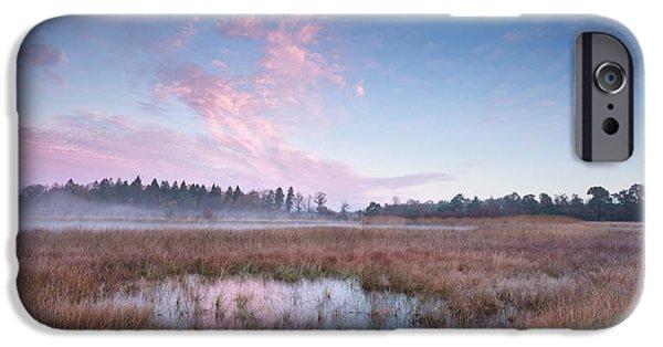 Fog Mist iPhone Cases - Misty Autumn Sunrise Over Swamp iPhone Case by Olha Rohulya