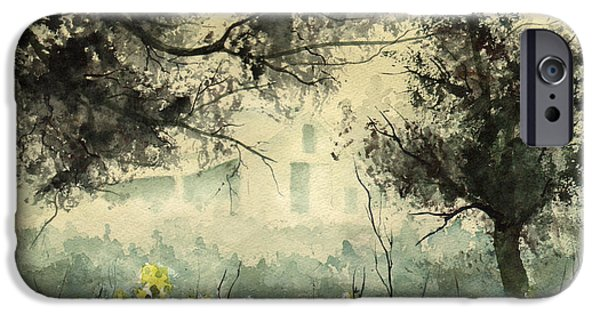 Mist Paintings iPhone Cases - Misty Barn iPhone Case by Sam Sidders