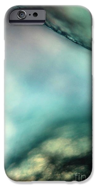 Pastel Pyrography iPhone Cases - Misty blue iPhone Case by Kirsti H