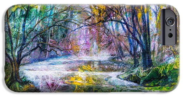 Fog Mist Mixed Media iPhone Cases - Misty Creek iPhone Case by Patricia Allingham Carlson