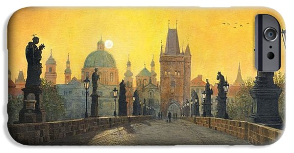 Sectioned iPhone Cases - Misty Dawn Charles Bridge Prague iPhone Case by Richard Harpum
