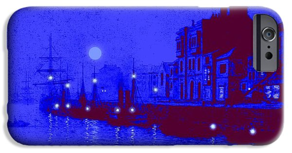 Sea Moon Full Moon Mixed Media iPhone Cases - Misty Evening Whitby Harbor 1893 iPhone Case by John A Grimshaw - L Brown