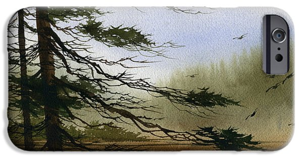 Misty Prints iPhone Cases - Misty Forest Bay iPhone Case by James Williamson