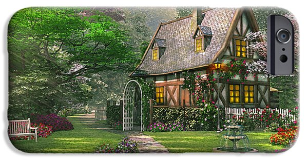 Pathway iPhone Cases - Misty Lane Cottage iPhone Case by Dominic Davison