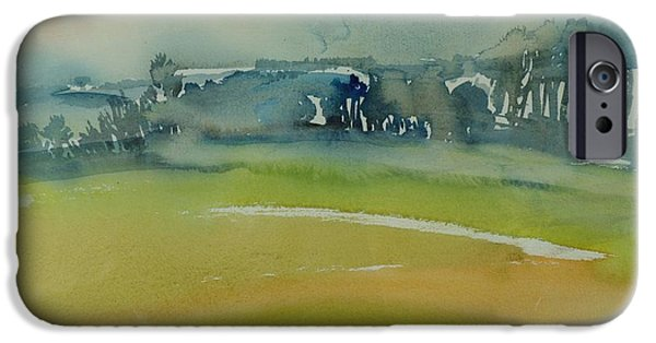 Rural iPhone Cases - Misty Morning, 1981 Wc On Paper iPhone Case by Brenda Brin Booker
