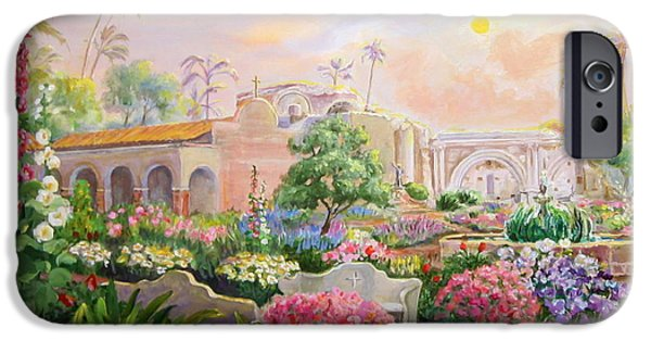 Great Place To Fish iPhone Cases - Misty Morning at Mission San Juan Capistrano  iPhone Case by Jan Mecklenburg
