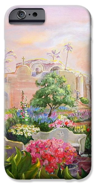 Misty Morning at Mission San Juan Capistrano  iPhone Case by Jan Mecklenburg