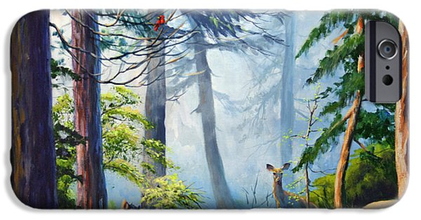 Smokey Mountains Paintings iPhone Cases - Misty Morning iPhone Case by CB Hume