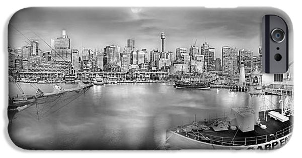 Moon iPhone Cases - Misty Morning Harbour - BW iPhone Case by Az Jackson