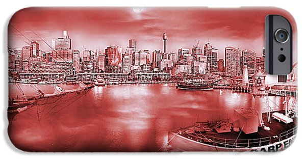 Tall Ship Digital Art iPhone Cases - Misty Morning Harbour - Red iPhone Case by Az Jackson