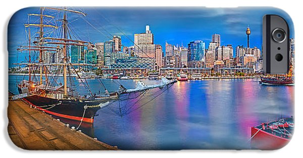 Moon iPhone Cases - Misty Morning Harbour iPhone Case by Az Jackson