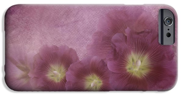 Hollyhock iPhone Cases - Misty Morning Hollyhocks iPhone Case by Diane Schuster