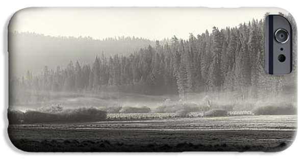 Meadow Photographs iPhone Cases - Misty morning in Yosemite Sepia iPhone Case by Jane Rix