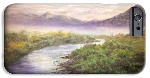 Fog Mist Pastels iPhone Cases - Misty Morning on the Slate River iPhone Case by Becky Chappell