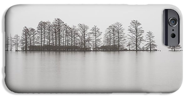 Rainy Day iPhone Cases - Misty Morning Photograph - Cypress Trees in the Rain  iPhone Case by Bill Swindaman