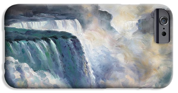 Niagara Falls iPhone Cases - Misty Niagara Falls iPhone Case by Ylli Haruni