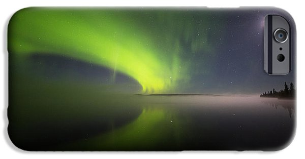 Lappi iPhone Cases - Misty night auroras iPhone Case by Mikko Lonnberg