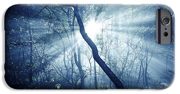Eerie iPhone Cases - Misty Rays In A Dark Forest, Liselund iPhone Case by Evgeny Kuklev