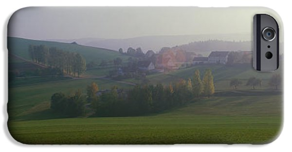Crops iPhone Cases - Misty Rural Scene, Near Neuhaus, Black iPhone Case by Panoramic Images