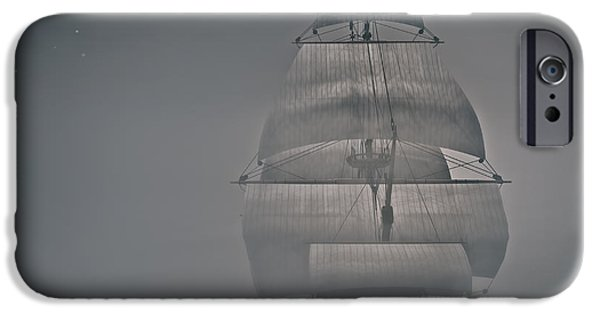 Tall Ship Digital Art iPhone Cases - Misty Sail iPhone Case by Lourry Legarde