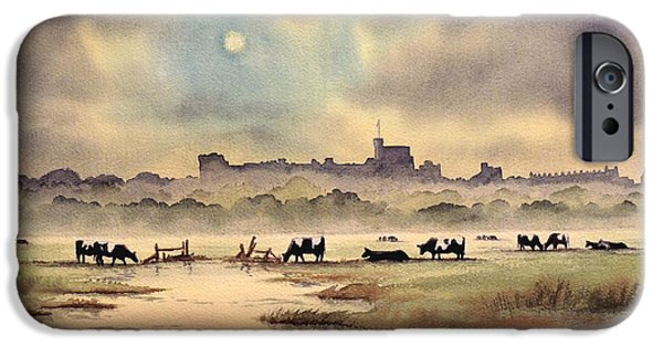 Royal Family Arts iPhone Cases - Misty Sunrise - Windsor Meadows iPhone Case by Bill Holkham