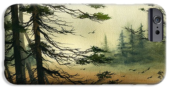 Misty Prints iPhone Cases - Misty Tideland Forest iPhone Case by James Williamson