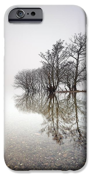 Reflection Of Trees iPhone Cases - Misty Trees iPhone Case by Grant Glendinning