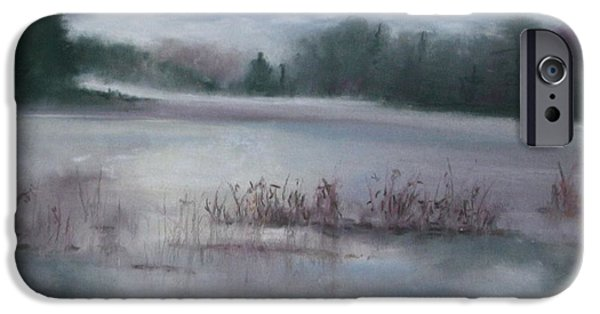 Fog Mist Pastels iPhone Cases - Misty Waters iPhone Case by Linda Dessaint