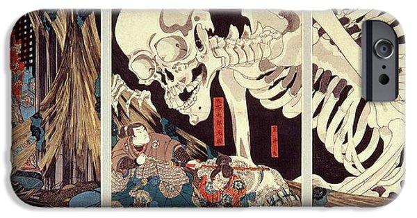 Ghost iPhone Cases - Mitsukini Defying The Skeleton Spectre, C.1845 Hand Coloured Woodcut Print iPhone Case by Utagawa Kuniyoshi