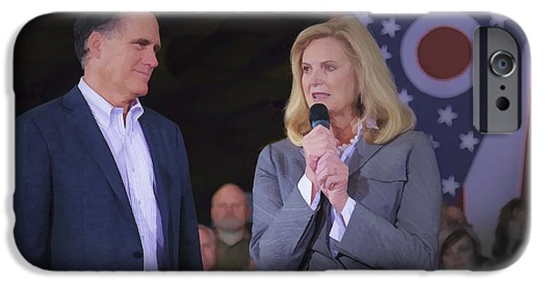 Mitt Romney iPhone Cases - Mitt and Ann Romney in Ohio 2012 iPhone Case by Jack R Perry