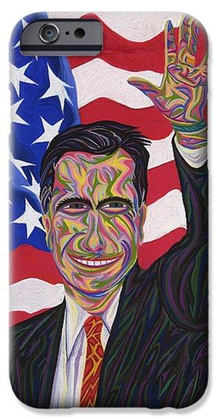 Politician Pastels iPhone Cases - Mitt Romney iPhone Case by Robert  SORENSEN