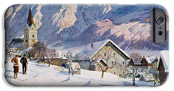 Skiing iPhone Cases - Mitterndorf in Austria iPhone Case by Gustave Jahn