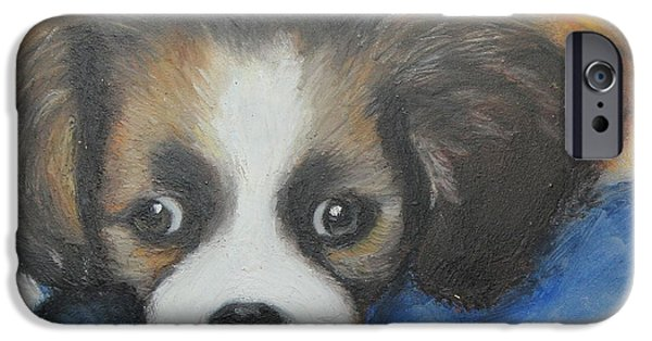 Puppy Pastels iPhone Cases - Mitzy iPhone Case by Jeanne Fischer