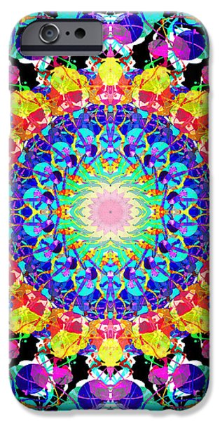 Design iPhone Cases - Mixed Media Mandala 6 iPhone Case by Phil Perkins