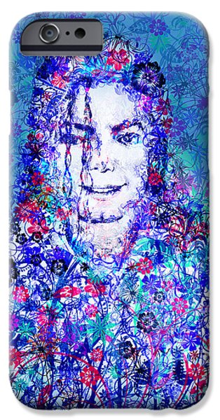 Billie Jean iPhone Cases - MJ floral version 2 iPhone Case by MB Art factory