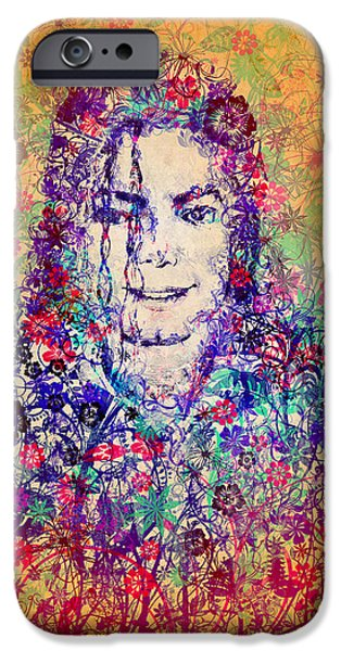 Billie Jean iPhone Cases - MJ floral version 3 iPhone Case by MB Art factory