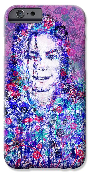 Billie Jean iPhone Cases - MJ floral version iPhone Case by MB Art factory