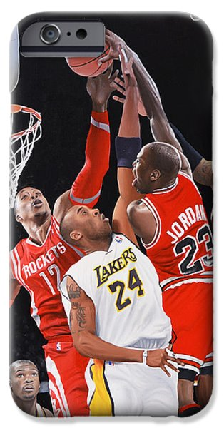 Lebron Paintings iPhone Cases - MJ Monster Dunk iPhone Case by Peter Perlegas