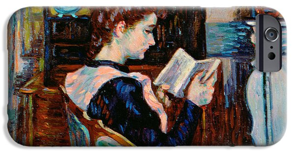 Portraits Female Paintings iPhone Cases - Mlle Guillaumin Reading iPhone Case by Jean Baptiste Armand Guillaumin