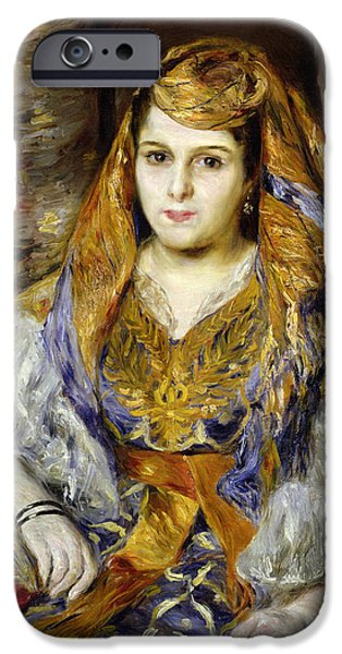 Costume iPhone Cases - Mme. Clementine Stora In Algerian Dress, Or Algerian Woman, 1870 Oil On Canvas iPhone Case by Pierre Auguste Renoir