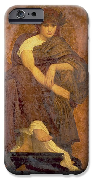 Classical iPhone Cases - Mnemosyne, The Mother Of The Muses Oil On Canvas iPhone Case by Frederic Leighton