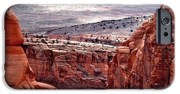 Red iPhone Cases - Moab iPhone Case by Rona Black