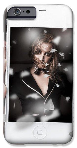 Mobile phone capturing a broadway cabaret show iPhone Case by Ryan Jorgensen