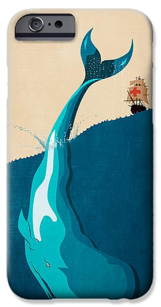 Animation iPhone Cases - Moby Dick 2 iPhone Case by Mark Ashkenazi