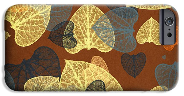 Rollo Digital Art iPhone Cases - Mocha Square Leaf Abstract iPhone Case by Christina Rollo