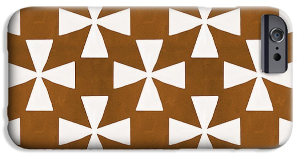 Patterned iPhone Cases - Mocha Twirl iPhone Case by Linda Woods