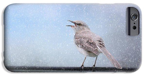 Mockingbird iPhone Cases - Mockingbird In The Snow iPhone Case by Jai Johnson