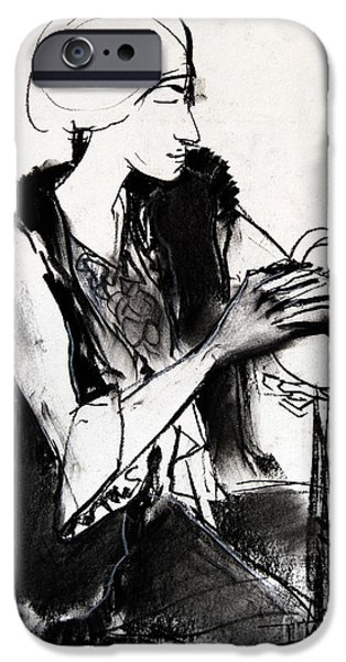 Pastel Drawings iPhone Cases - Model #1 - figure series iPhone Case by Mona Edulesco