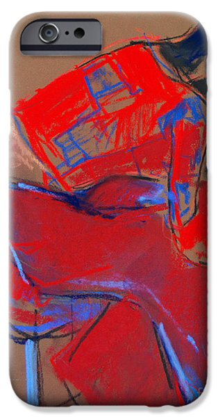 Abstracts Pastels iPhone Cases - Model #3 - Woman wiping her face - figure series iPhone Case by Mona Edulesco